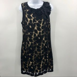LIV Black Lace Creme Fully Lined Sleeveless Dress